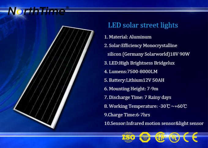 LiFePO4 Battery Solar Powered LED Parking Lot Lights Energy Saving 7 Hours Charge Time
