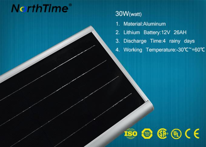 Waterproof 30W All In One Solar Powered Road Lights CE RoHs Certificated