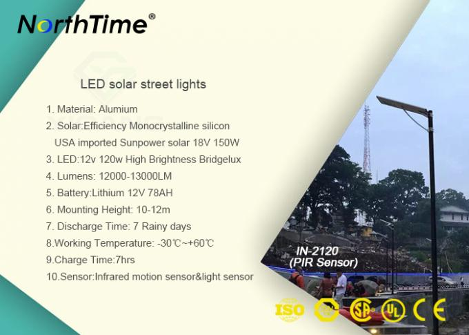 Solar Energy LED Lights 120W Automatic Street Light With Motion Sensor