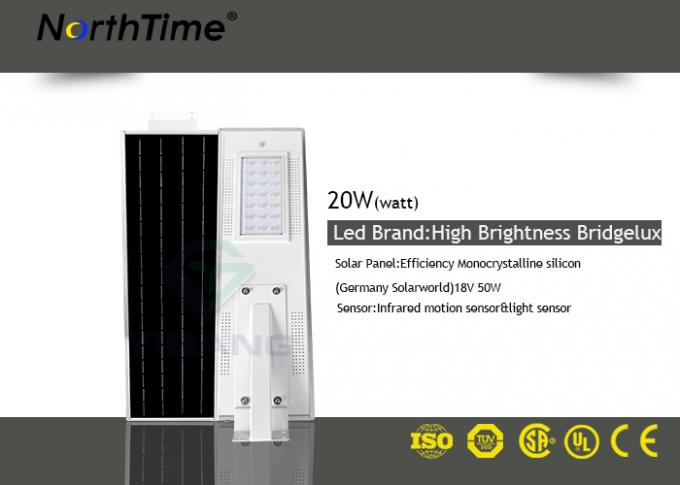 50 Watt solar powered street lamp 12V 18AH Lithium Battery