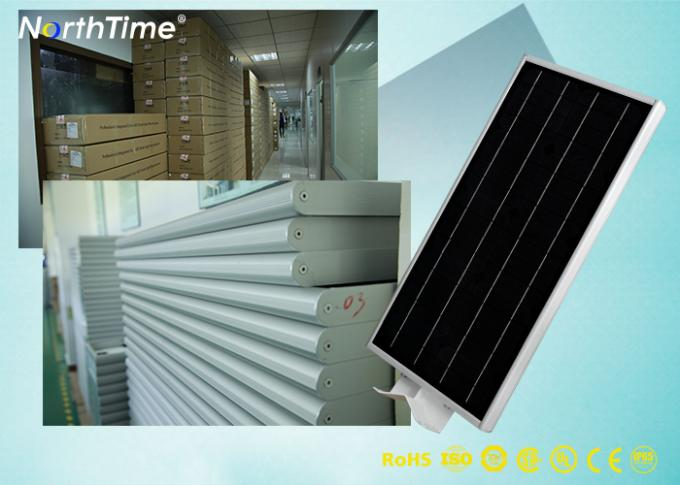All in One Solar Panel Street Lights LED Luminaires with Lithium Battery / PIR Motion Sensor
