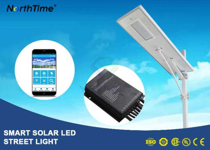 8000LM Wireless All In One Pole Solar Powered Road Lights With Bridgelux LED Chips