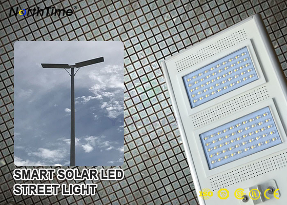 चीन IP65 Smart Control Solar Powered LED Street Lights With Solar Panel & Lithium Battery आपूर्तिकर्ता